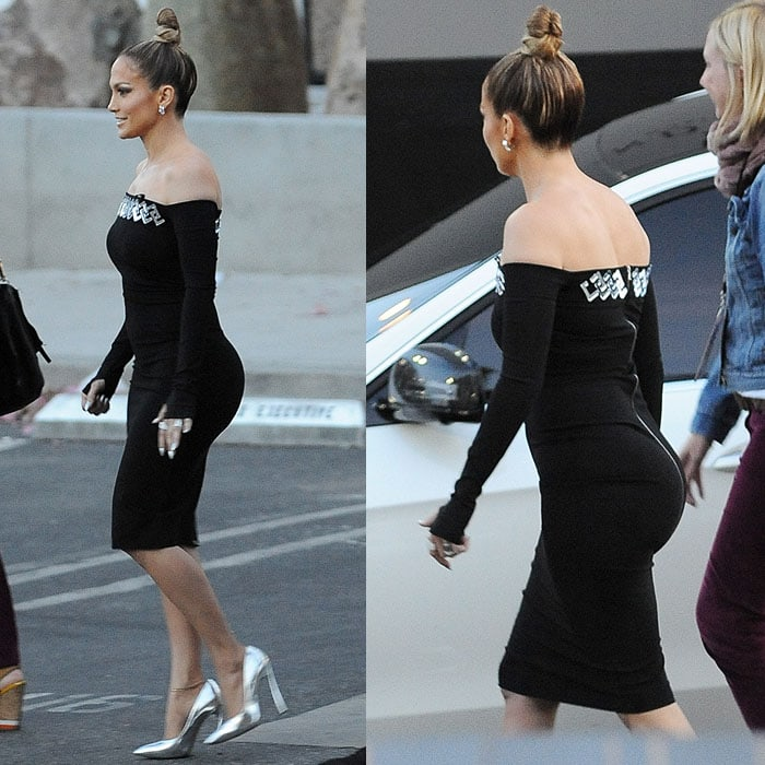 Jennifer Lopez flaunting her curves and famous ass-ets in a figure-hugging, long-sleeve, off-the-shoulder LBD