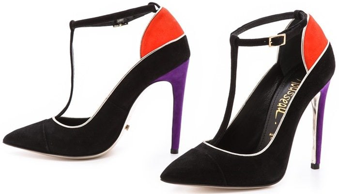 Jerome C. Rousseau pumps update a T-strap silhouette with soft, colorblock suede