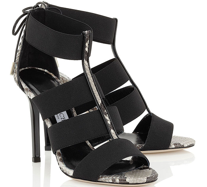Jimmy Choo Dario Black Elastic and Natural Python Sandals