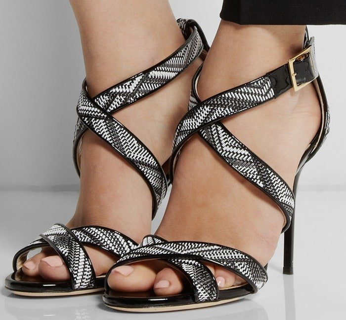 Jimmy Choo Black Lottie Patent leather and Woven Fauxraffia Sandals