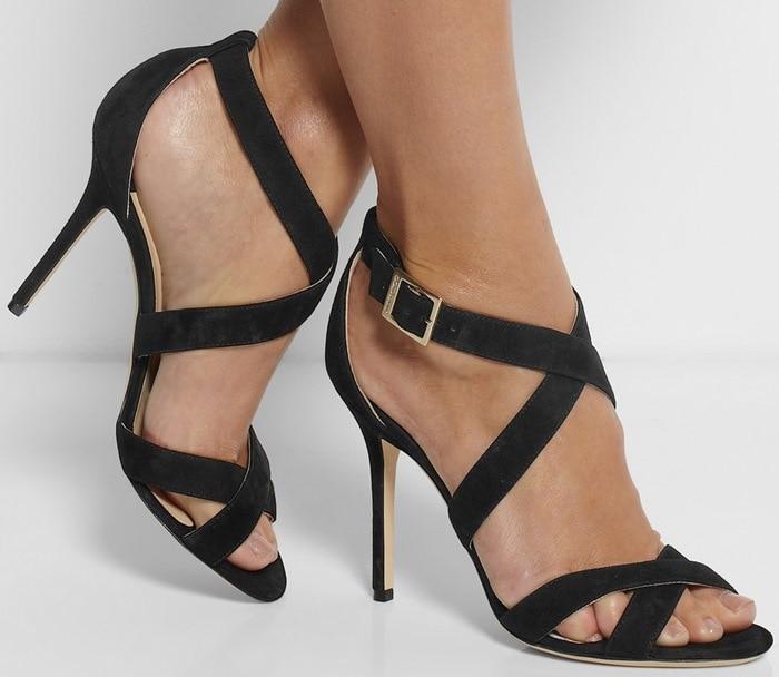 Jimmy Choo Black Lottie Suede Sandals