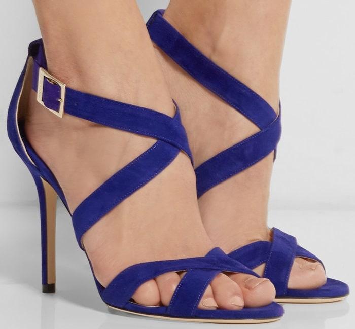 Jimmy Choo Blue Lottie Suede Sandals