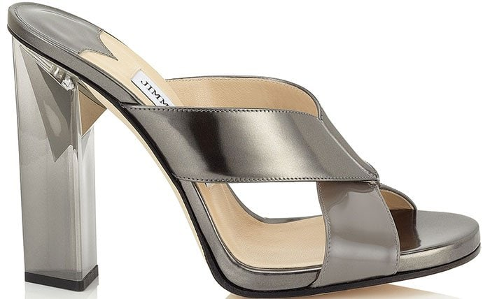Taris Twilight Patent and Anthracite Mirror Leather Mules