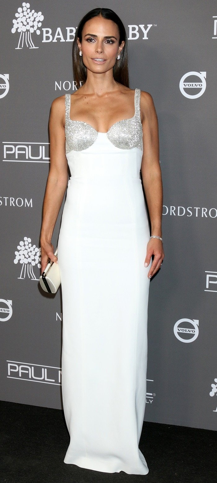 Jordana Brewster in a white Michael Kors Collection gown with sparkling cups