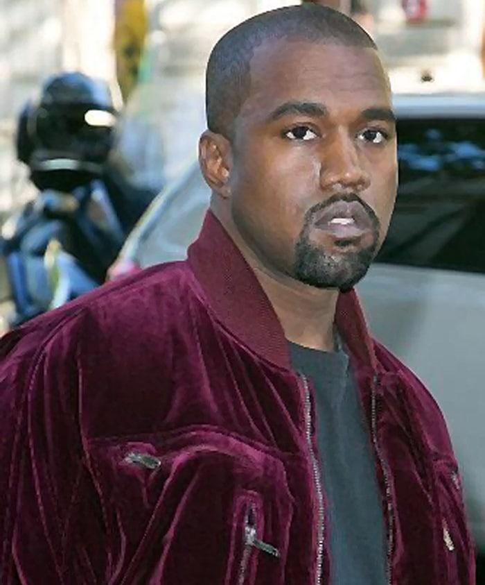 Kanye West seems to be thinking hard about something