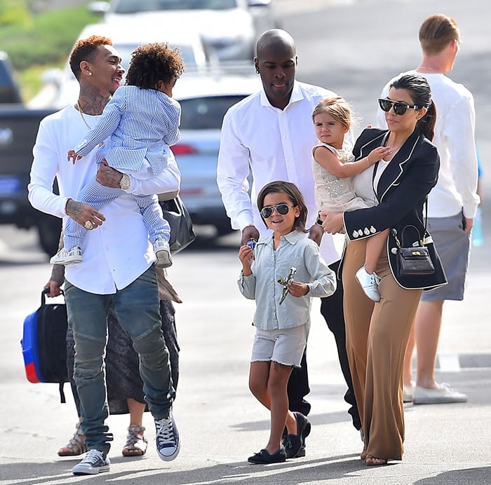 The extended Kardashian-Jenner family attending the Easter service at West Hills Church in the San Fernando Valley, Los Angeles County, on March 5, 2015