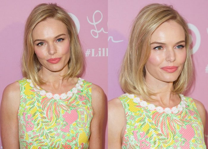 Kate Bosworth withcoral lips and pink eyeshadow