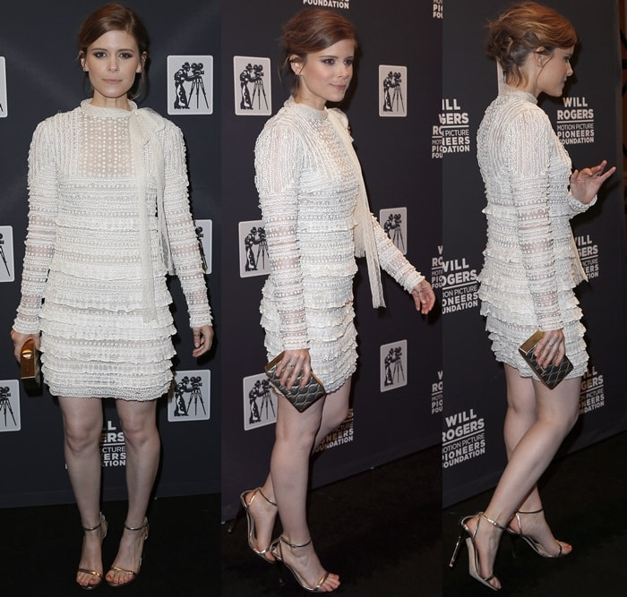 Kate Mara paraded her hot legs in a long sleeve off-white mini dress