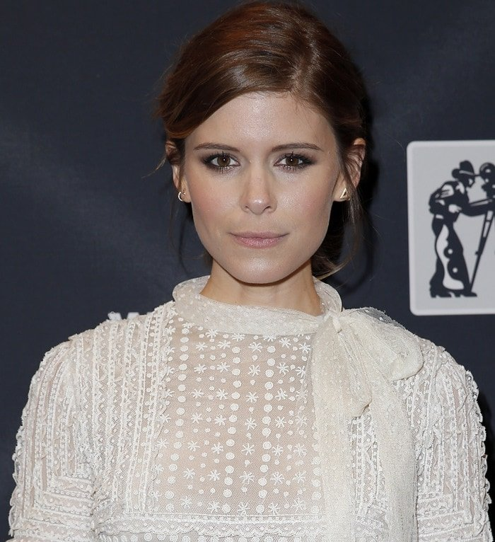 Kate Mara's Valentino dress with a bowed neckline at the 2015 Will Rogers Pioneer of the Year Dinner