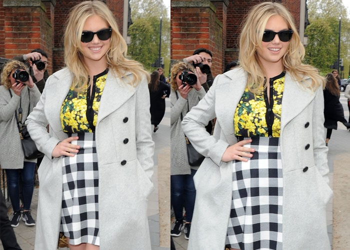 Kate Upton mixed florals and plaid with a gorgeous trench coat