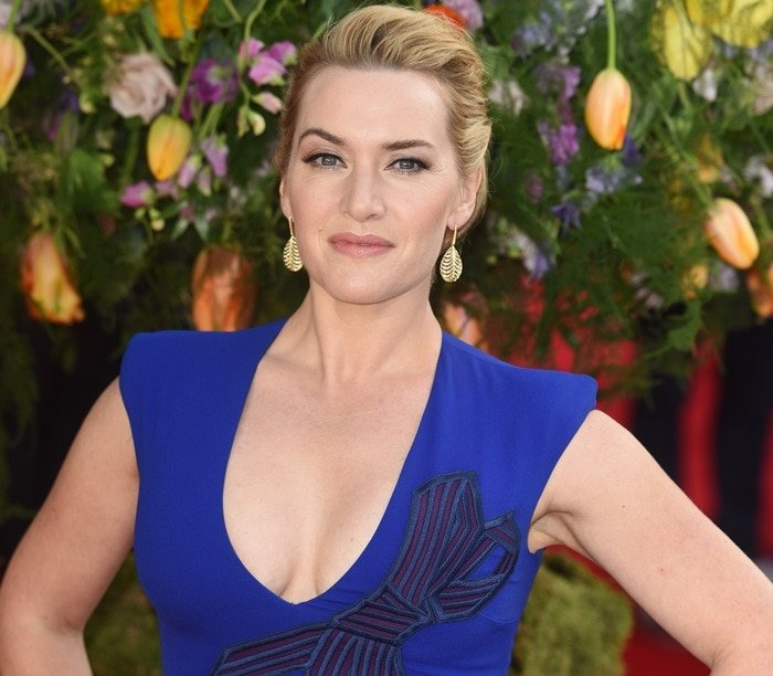 Kate Winslet's figure-hugging dress with large bow detail and a daring neckline