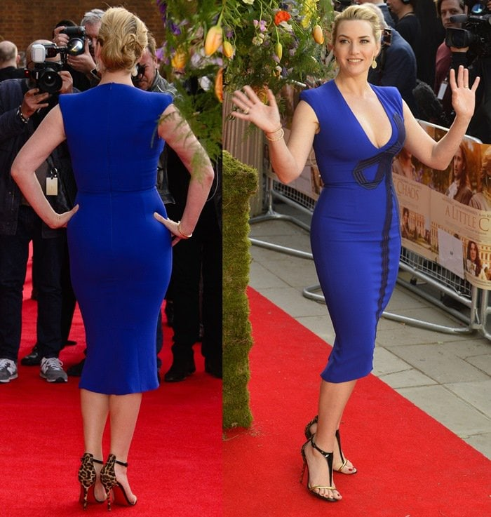 Kate Winslet flashed her legs in a sexy blue dress
