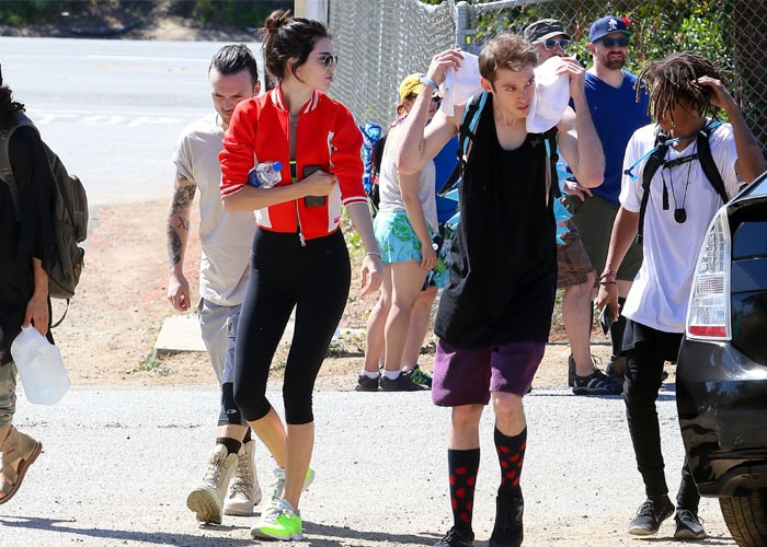 Kendall Jenner went hiking in a sports bra and training capris from Nike