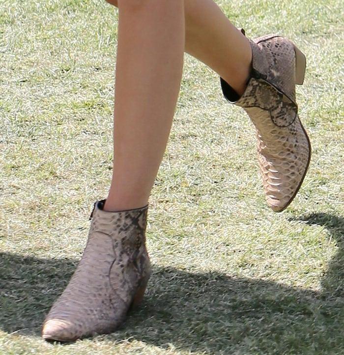 Kendall Jenner's python boots by Saint Laurent