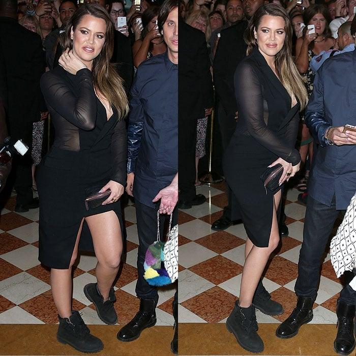 Khloe Kardashian wearing Timberland boots