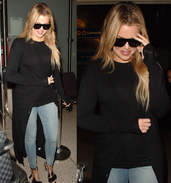 Khloe Kardashian back on a flight from Armenia at Los Angeles International Airport (LAX) on April 14, 2015