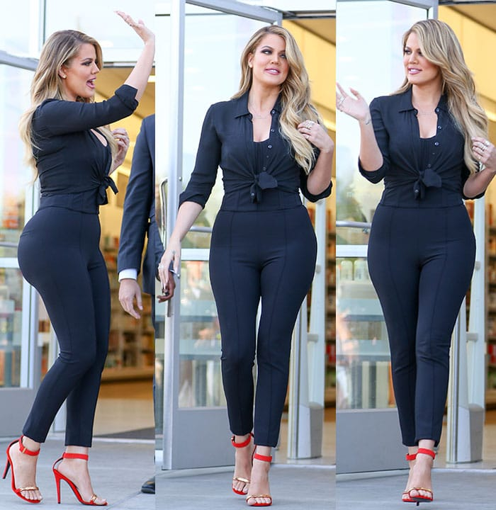 Khloe Kardashian promoting the Kardashian Beauty hair care and styling line at Ulta Beauty in West Hills, Los Angeles, on April 2, 2015