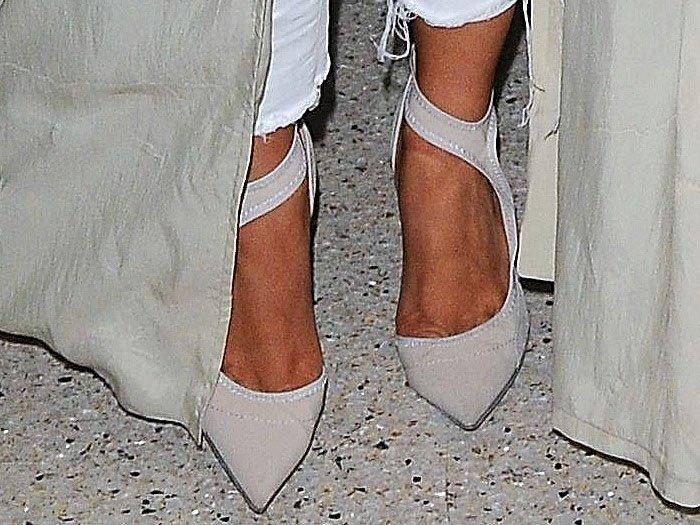 Kim Kardashian's feet in Balenciaga half d'Orsay ankle-strap pumps