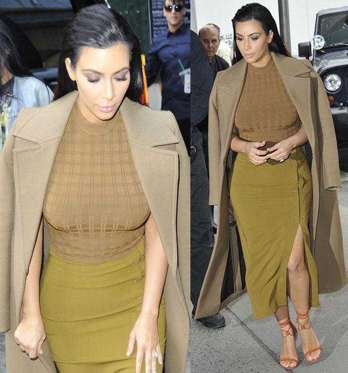 Kim Kardashian's khaki high-neck patterned top
