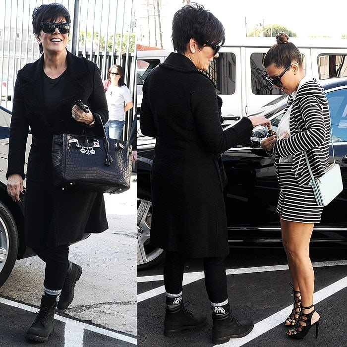 Kris Jenner Timberland wearing boots