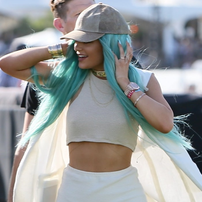 Kylie Jenner's ribbed knit halter paired with high-waist hot shorts