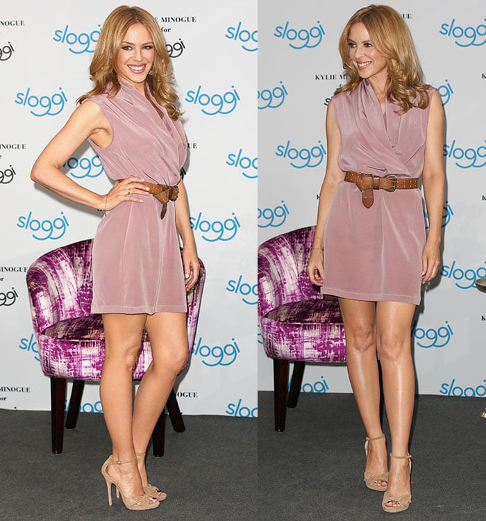 Kylie Minogue flaunts her hot legs in a dusty pink dress and nude heels