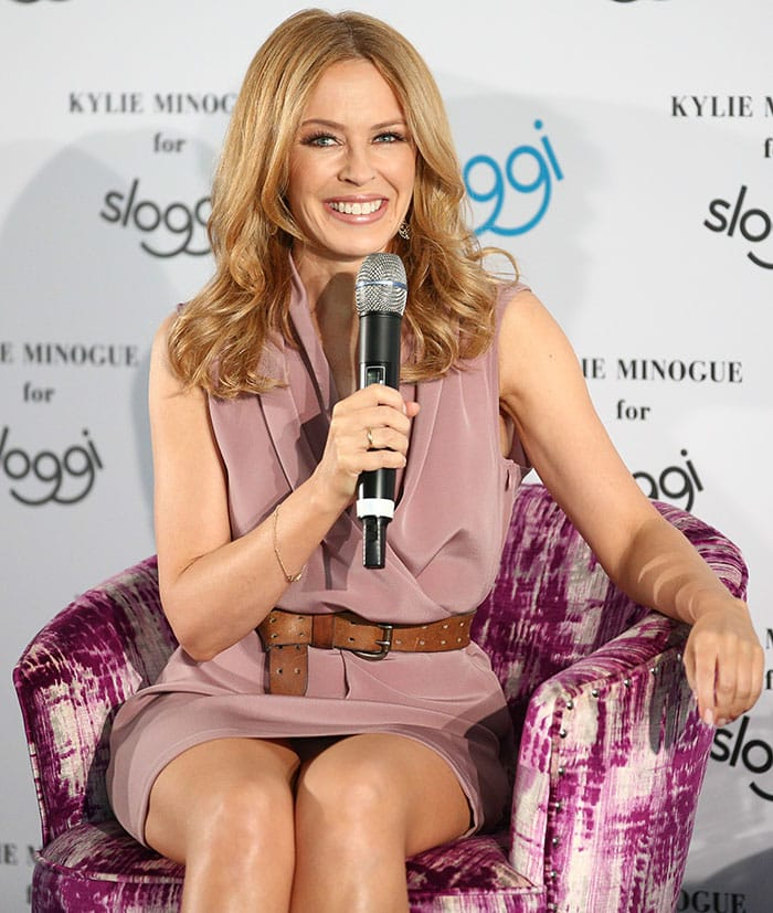 Kylie Minogue at the Sloggi press conference held at Hotel Zoo Berlin in Germany on April 23, 2015