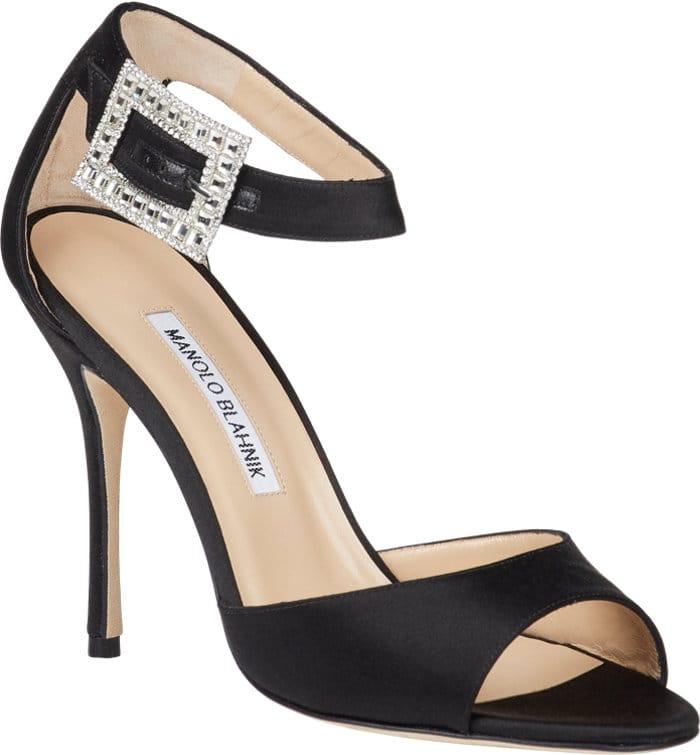 Black Jeweled-Buckle Dribbin Sandals
