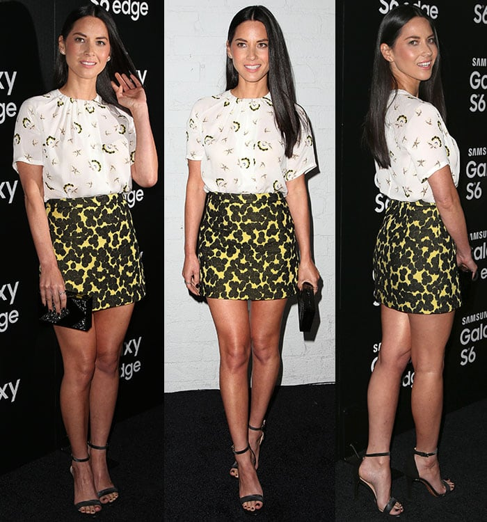 Olivia Munn paraded her legs in a loose-fitting printed white top with a black-and-yellow dotted miniskirt