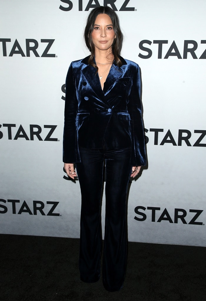 Olivia Munn in a navy velvet suit for Starz's 2019 Winter TCA Tour After-Party