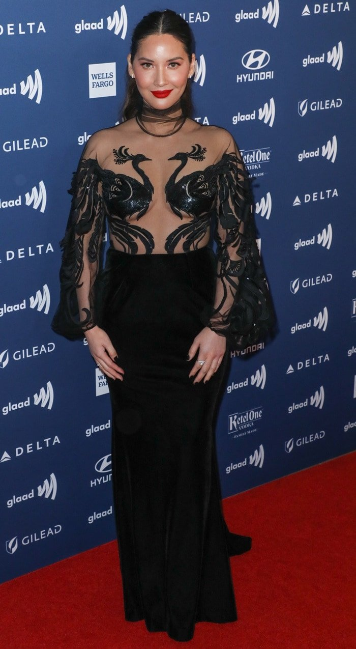 Olivia Munn showed underboob in a sultry sheer gown at the 2019 GLAAD Media Awards