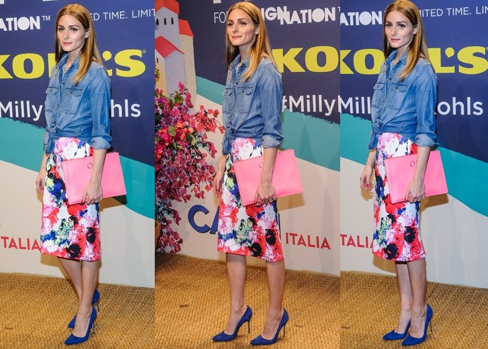 Olivia Palermo flaunted her legs in an abstract floral midi scuba skirt