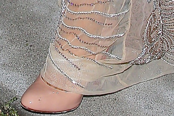 Paris Hilton crystal heel nude patent pumps 2
