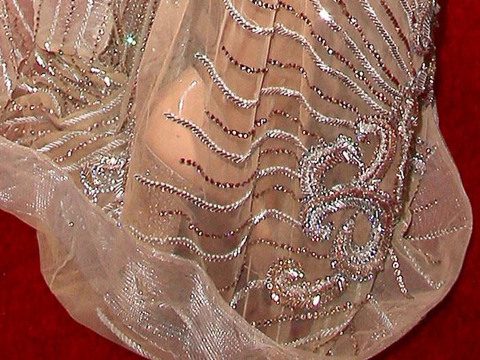 Paris Hilton crystal heel nude patent pumps