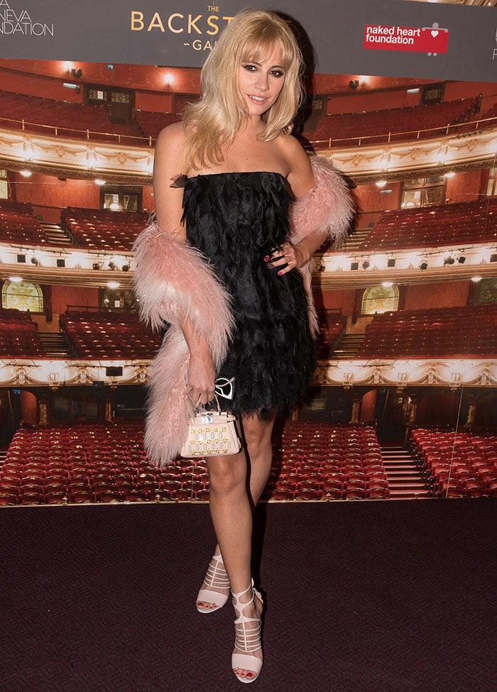 Pixie-Lott-in-Fendi-black-feather-dress