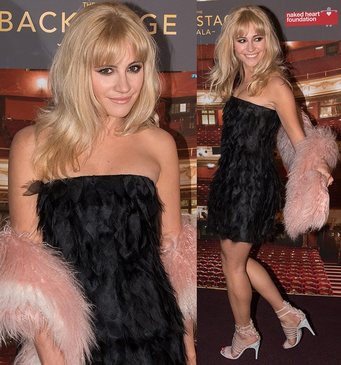 Pixie-Lott-in-Fendi-feather-dress-and-cage-strappy-sandals