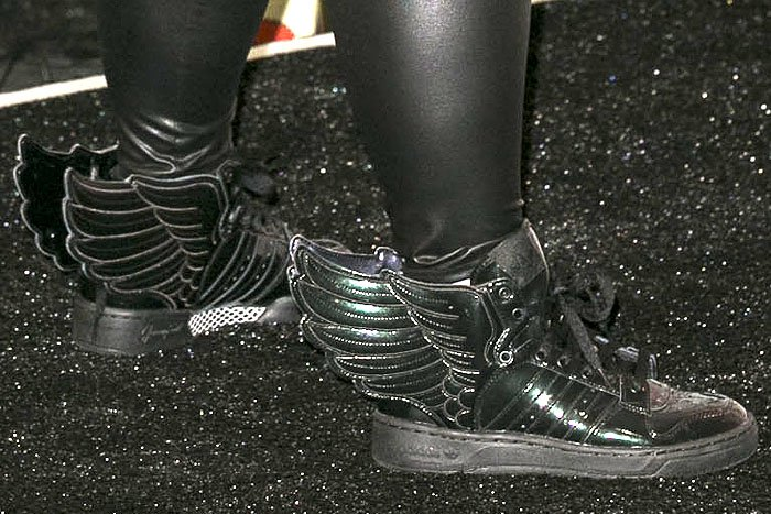 "adidas originals x Jeremy Scott ""Wings 2.0"" sneakers matching Rebel Wilson's winged costume"