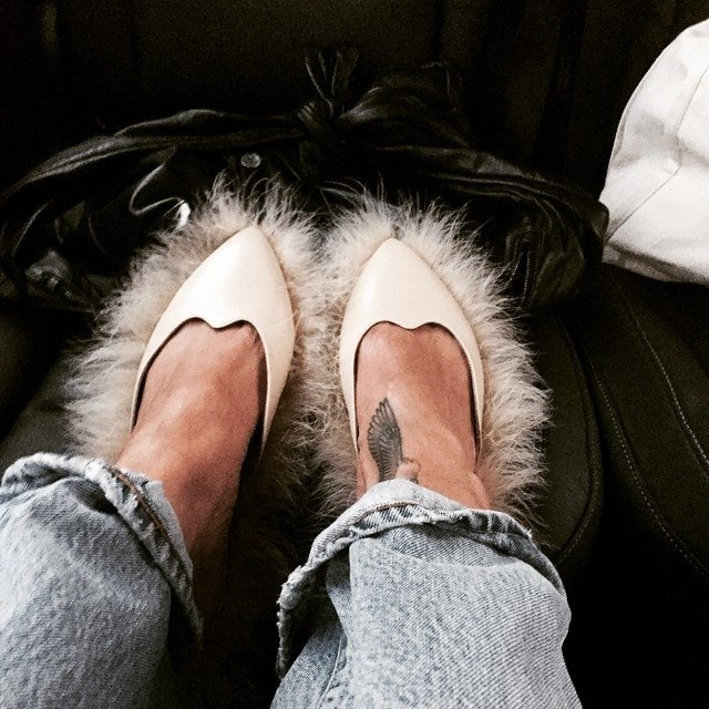 Rihanna's Instagram post of her Simone Rocha fluff-trim leather mules