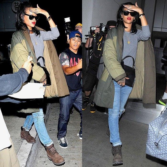 Rihanna wearing Timberland boots