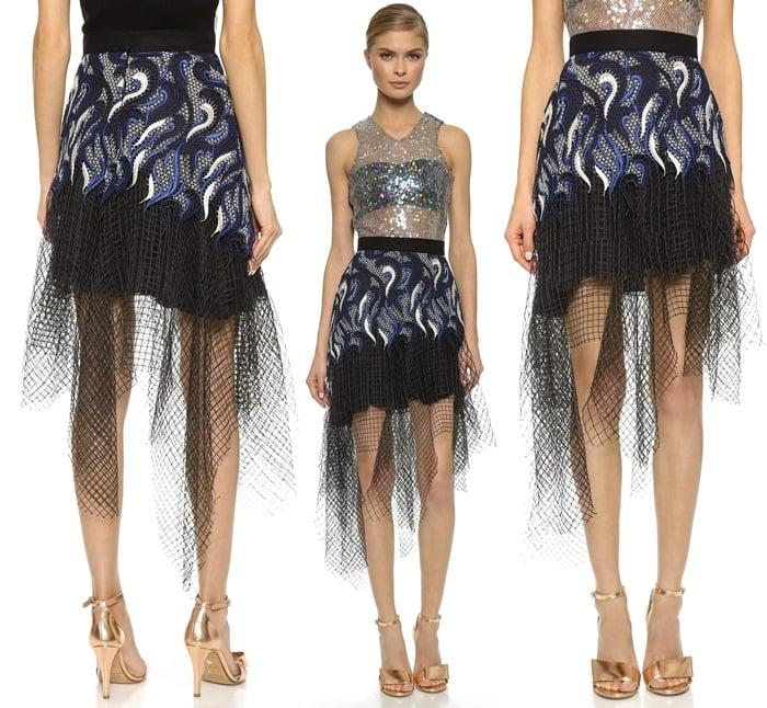 Rodarte Embroidered Lace & Net Skirt