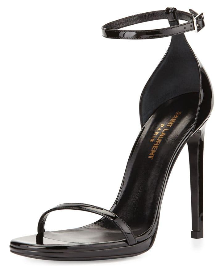 Saint Laurent Patent Ankle Wrap Sandal