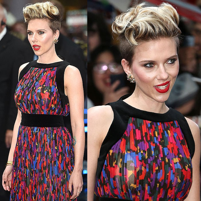 Scarlett Johansson giving fierce facial expressions to the cameras