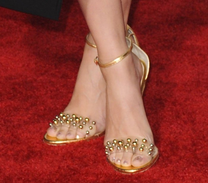 Scarlett Johansson showing off her feet in Jerome C. Rousseau sandals