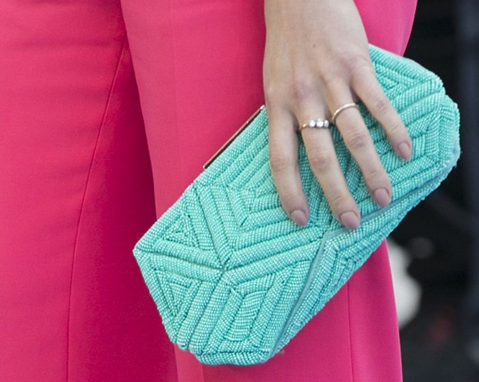 Scarlett Johansson toting a mint-green Roger Vivier bag