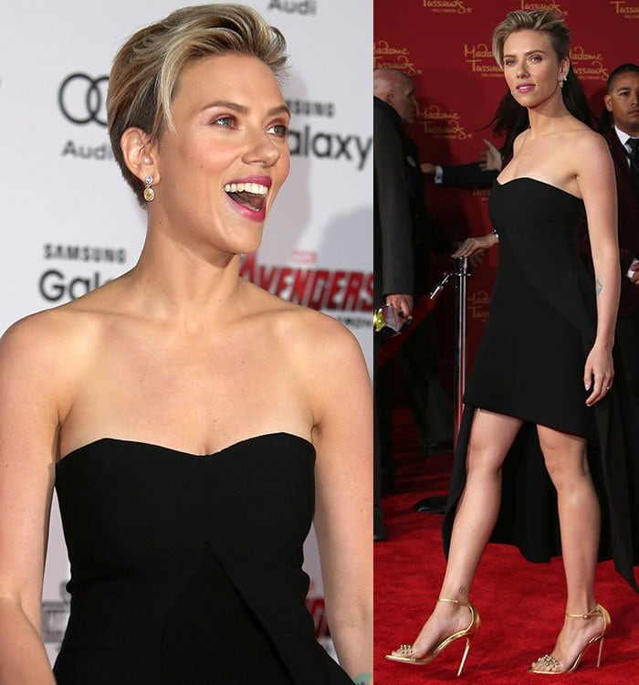 Scarlett Johansson kept her accessories to a minimum with a pair of Ared Menzilcian earrings