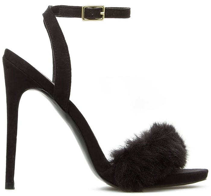 Princessa Fur-Trim Ankle-Strap Sandals