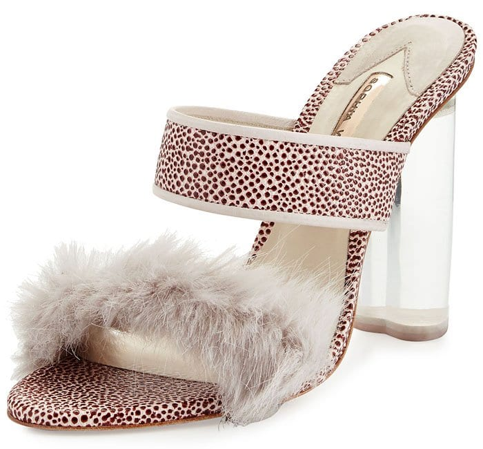 "Shrimps x Sophia Webster ""Skye"" Faux-Fur-Trim Faux-Stingray Sandals"