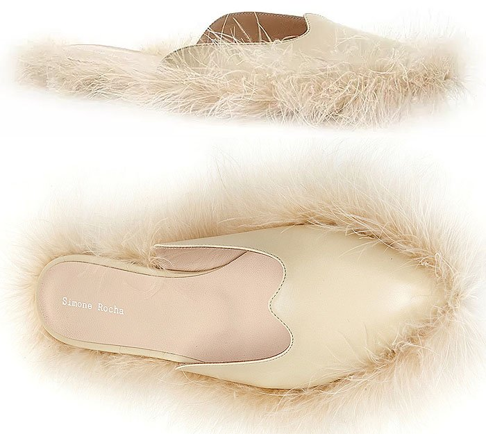 Simone Rocha Feather-Trim Flat Leather Mules