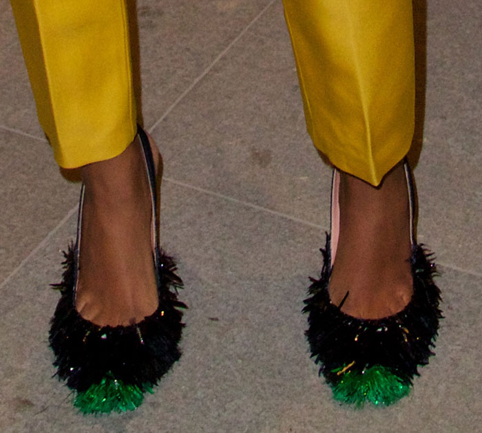 Solange Knowles in Rochas slingback pumps