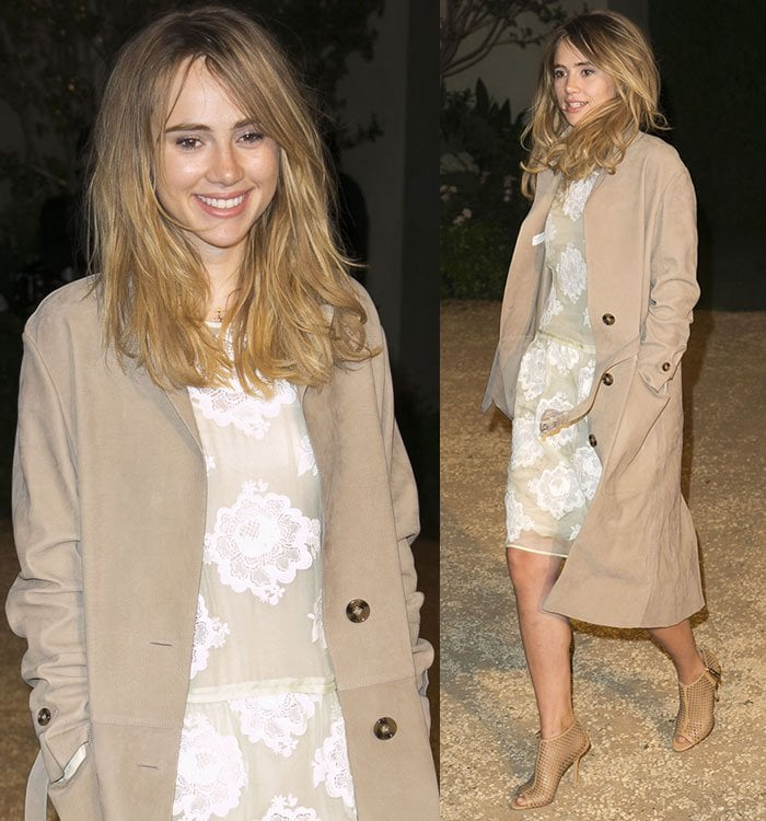 Suki-Waterhouse-in-Burberry-lace-dress-trench-coat-boots